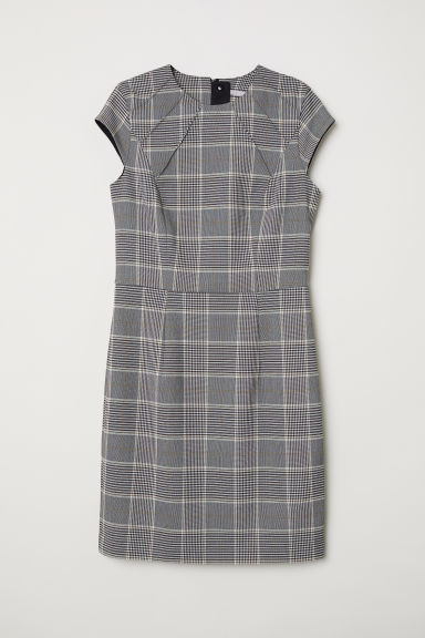 Short dress - Beige/Checked - Ladies | H&M
