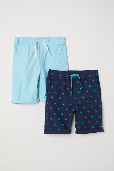 2-pack cotton shorts - Dark blue/Palm trees -  | H&M CN