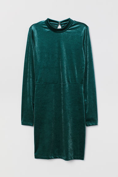 Fitted dress - Dark green -  | H&M