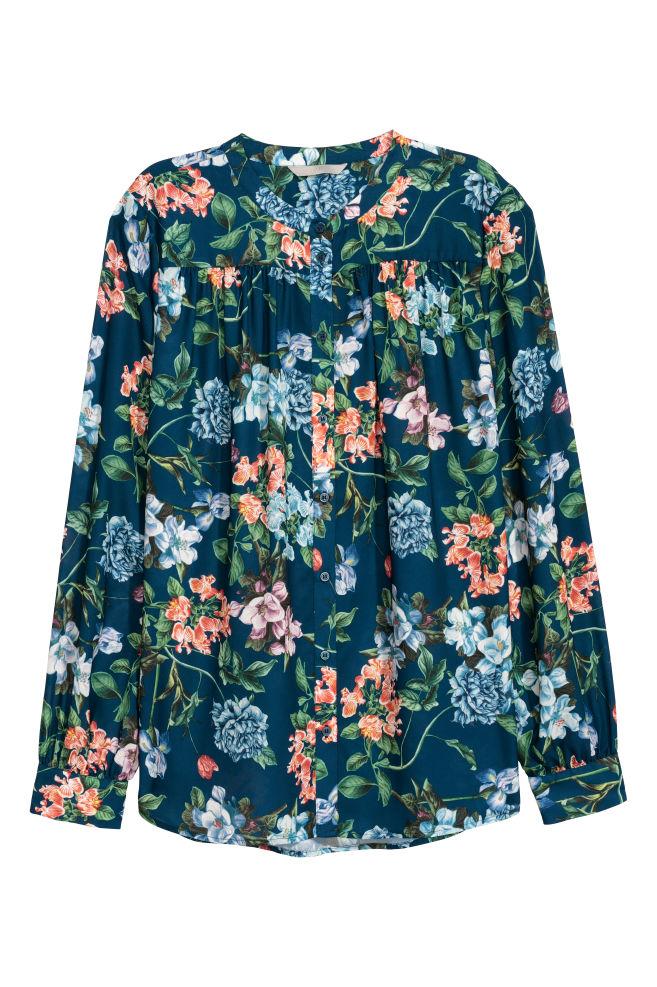 80171b02f936 Blúzka s dlhým rukávom - modrá kvetovaná - ŽENY