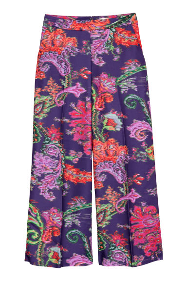 Wide trousers - Purple/Patterned - Ladies | H&M