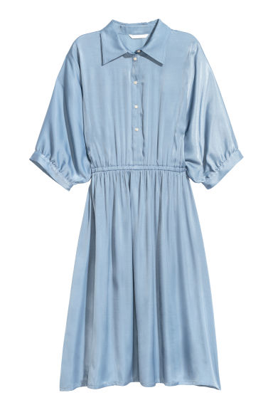 Satin shirt dress - Light blue - Ladies | H&M