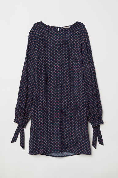H&M+ Tie-sleeved dress - Dark blue/Patterned - Ladies | H&M CN