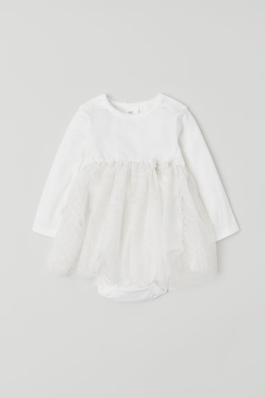 Tulle dress with a bodysuit - White - Kids | H&M