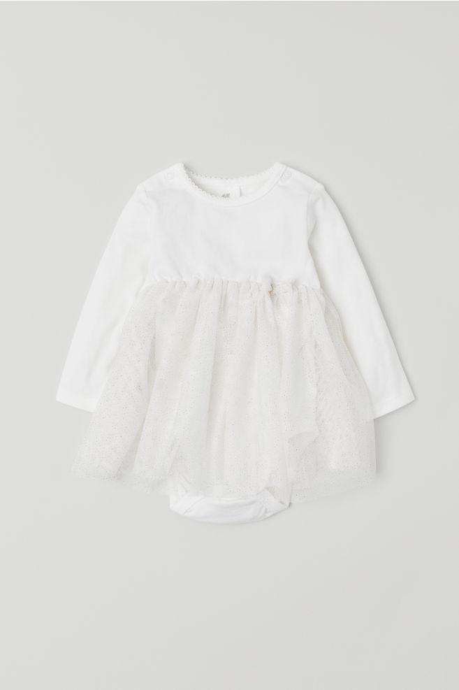15ade3a95c Tiulowa sukienka z body - Biały - Dziecko