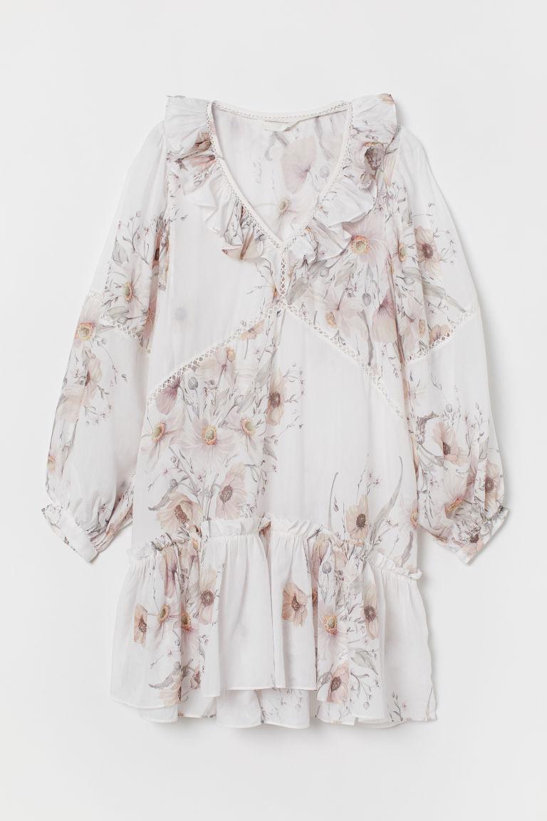 Sukienka z falbanami - Biały/Kwiaty - | H&M PL 4