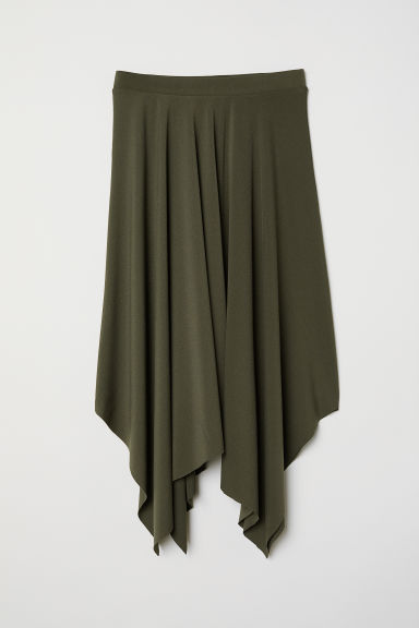 Asymmetric skirt - Khaki green - Ladies | H&M