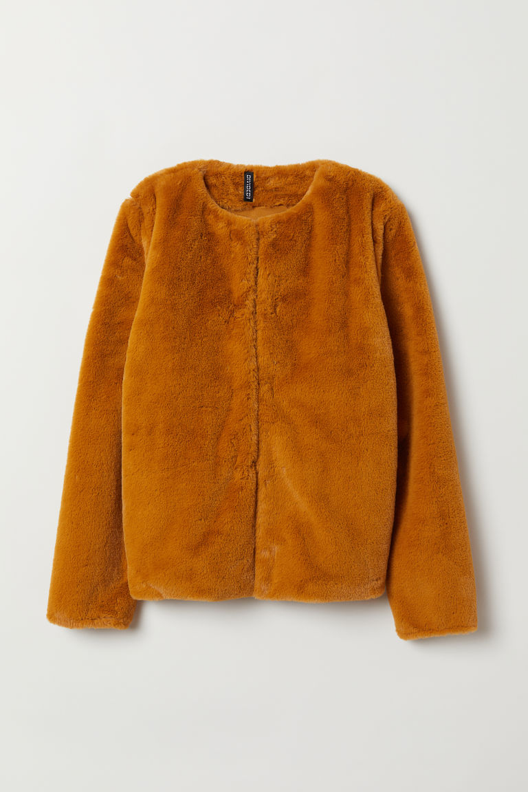 Faux fur jacket - Mustard yellow -  | H&M CN