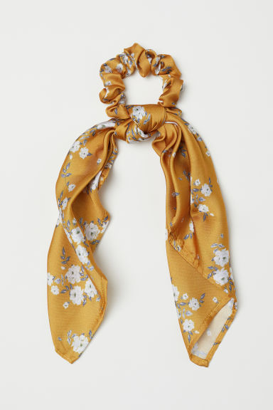 Scrunchie con detalle pañuelo - Amarillo oscuro/Floral - MUJER | H&M ES