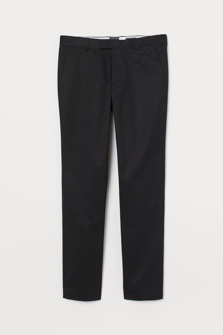 Katoenen chino - Slim Fit - Zwart - HEREN | H&M NL