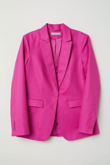 Linen-blend jacket - Cerise - Ladies | H&M CN