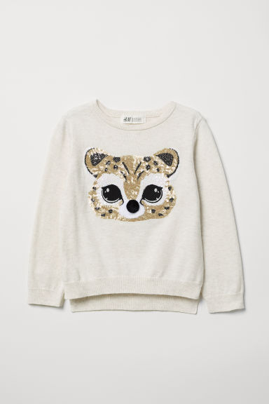 Jumper with a sequined motif - Light beige/Leopard - Kids | H&M