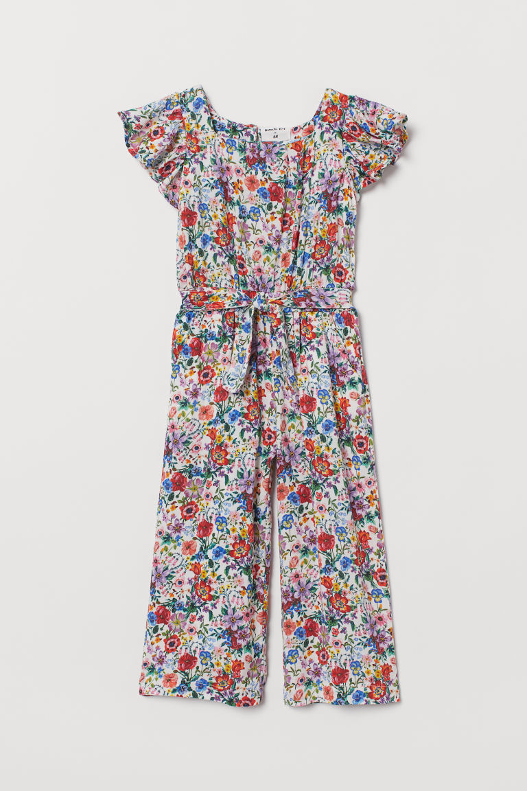 Patterned Ruffled Jumpsuit - White/floral - Kids | H&M US