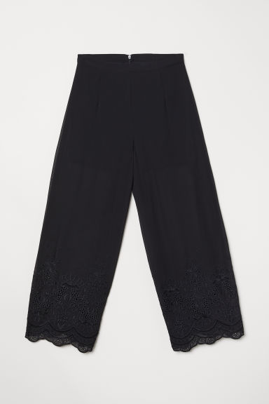 Wide broderie-trim trousers - Black - Ladies | H&M GB