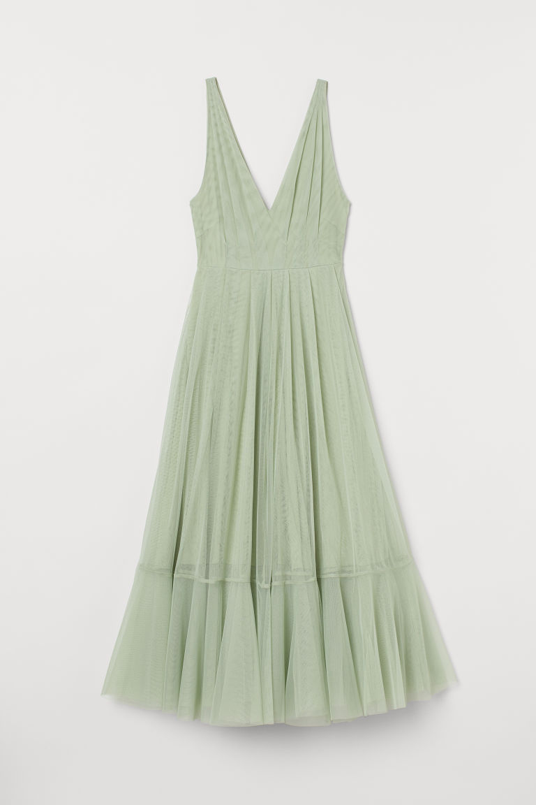 V-neck tulle dress - Light green - Ladies | H&M
