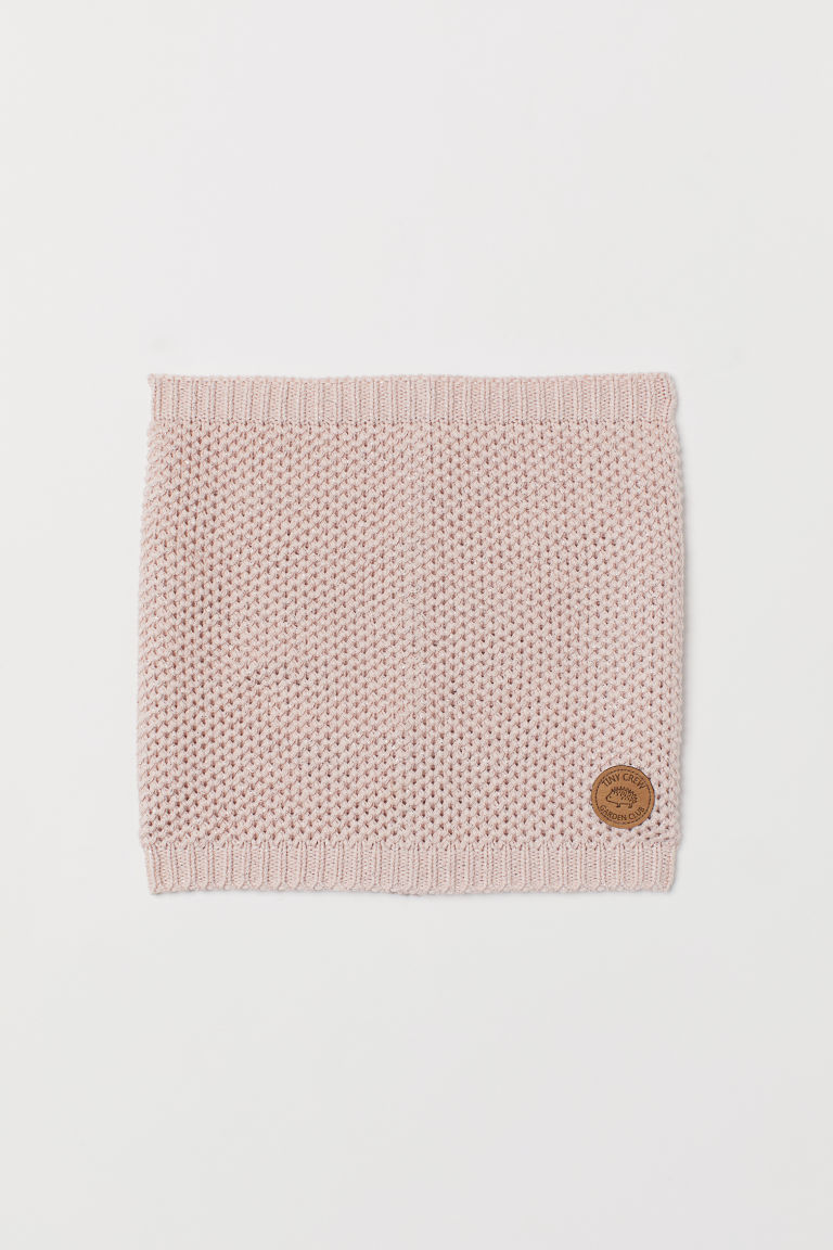 Knitted tube scarf - Light pink/Glittery - Kids | H&M CN