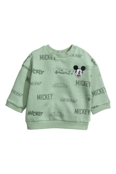 Printed sweatshirt - Green/Mickey Mouse -  | H&M CN