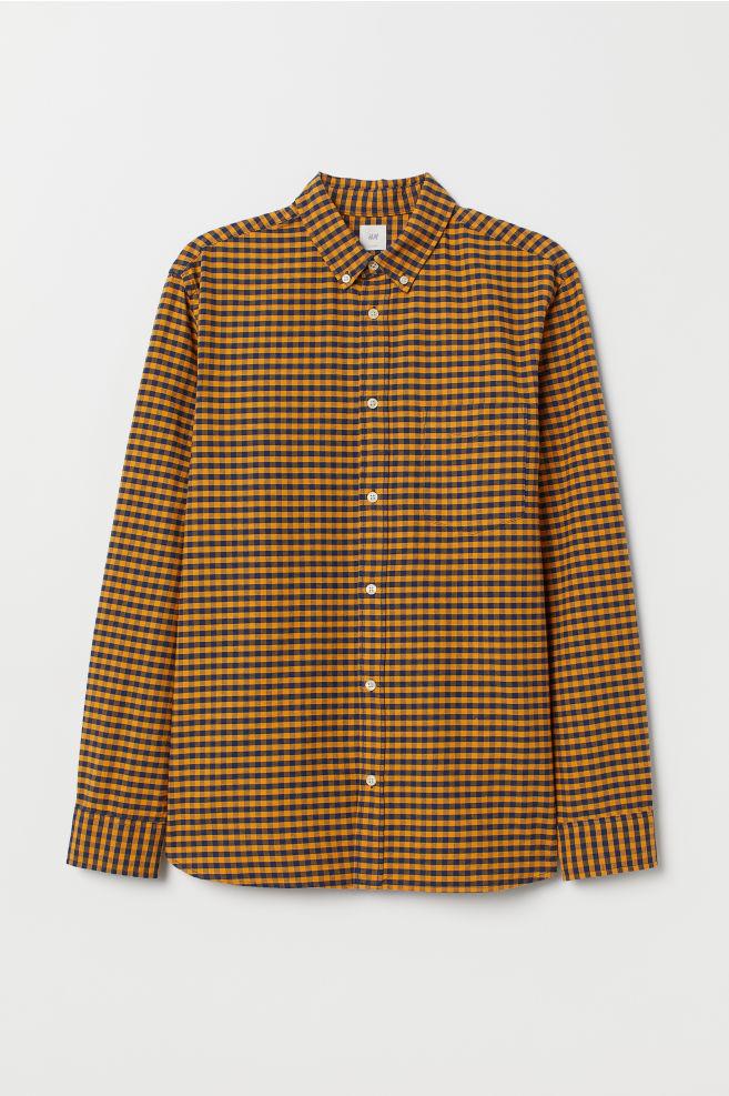 d31d9fe10d Camicia Oxford Regular fit - Blu scuro/arancione quadri - UOMO | H&M CH