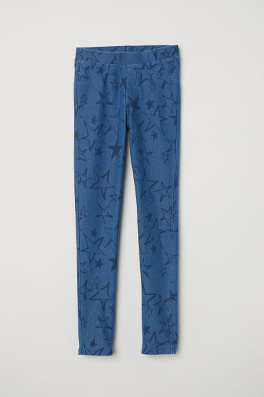 Jersey leggings - Blue/Stars - Kids | H&M