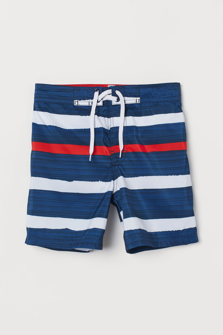 Patterned swim shorts - Dark blue/Striped - Kids | H&M CN