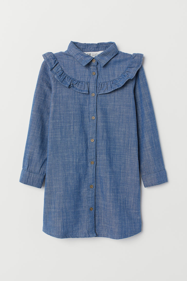 Shirt dress with a frill - Blue/Chambray - Kids | H&M CN