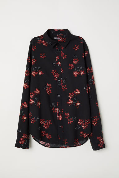 Viscose shirt - Black/Flowers -  | H&M CN