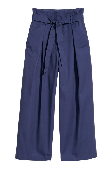 Wide cotton trousers - Dark blue - Ladies | H&M CN