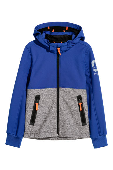 Softshell jacket - Blue/Block patterned - Kids | H&M