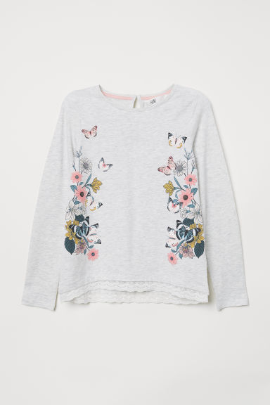 Lace-trimmed jersey top - Light grey/Butterflies - Kids | H&M