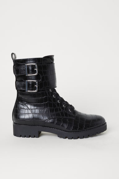 Crocodile-patterned boots - Black/Crocodile-patterned - Ladies | H&M CN