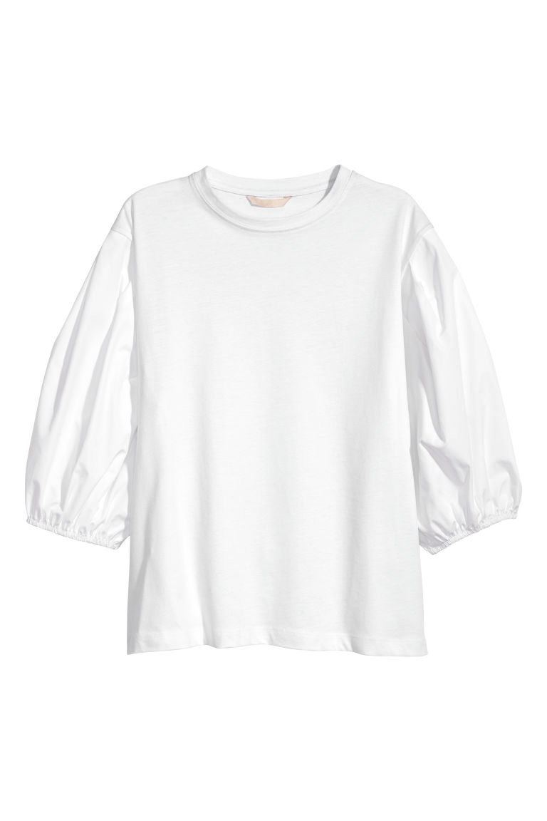 Balloon-sleeved jersey top - White - Ladies | H&M