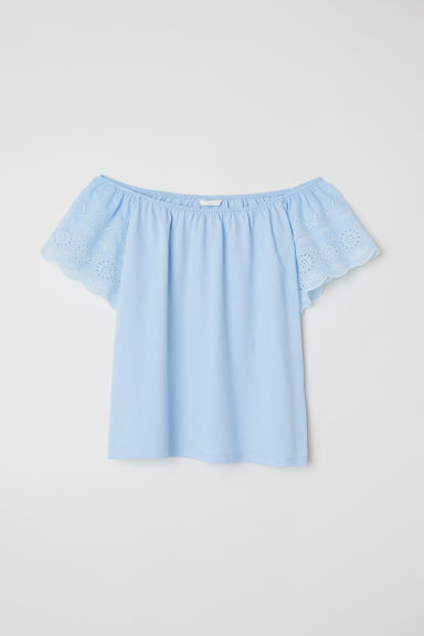Top with embroidery - Light blue - Ladies | H&M