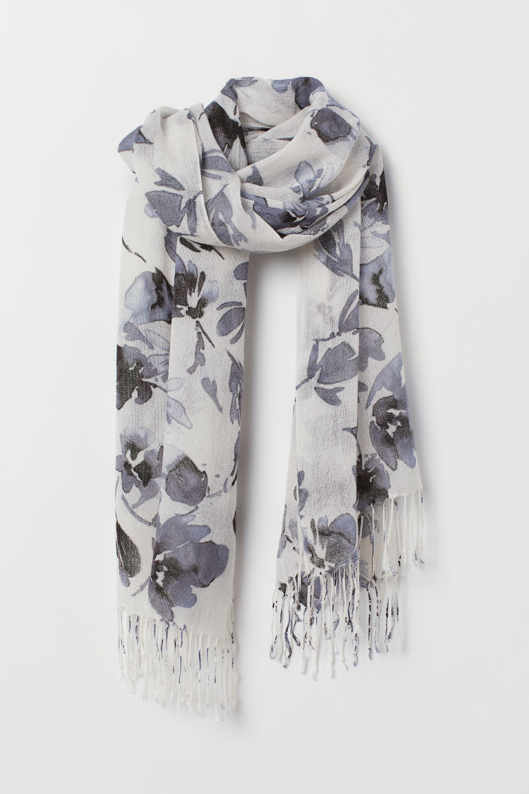 Patterned scarf - White/Floral - Ladies | H&M CN
