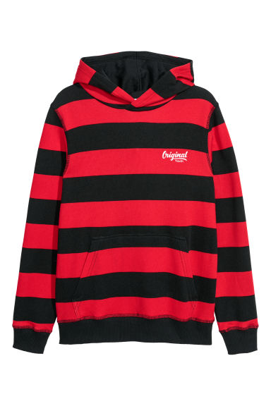 Hooded top - Red/Black striped - Kids | H&M