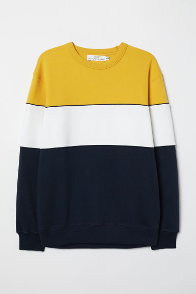 Sweatshirt - Yellow/Block-coloured - Men | H&M
