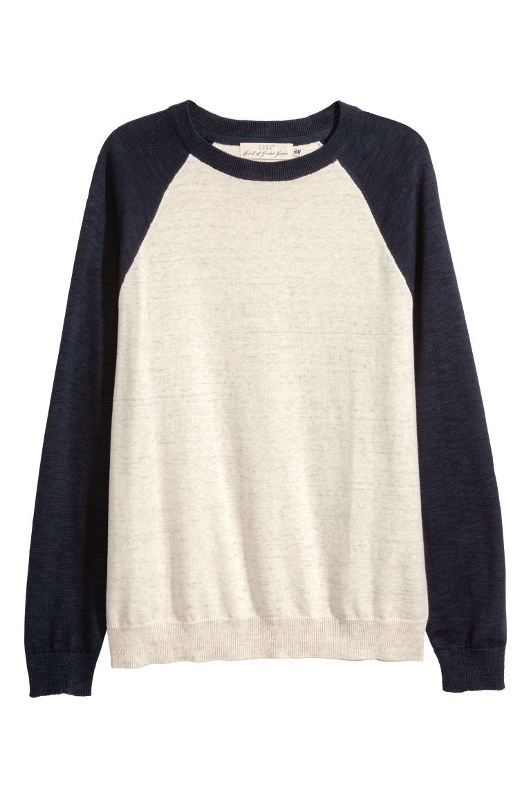 Fine-knit cotton jumper - Natural white/Dark blue - Men | H&M