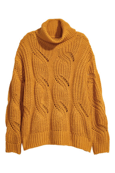 Knitted polo-neck jumper - Mustard yellow - Ladies | H&M