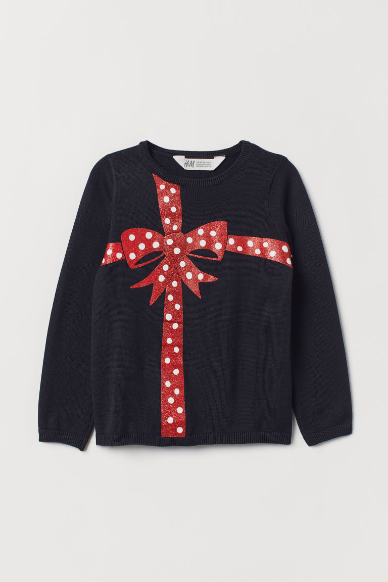 Fine-knit jumper - Dark blue/Bow - Kids | H&M CN
