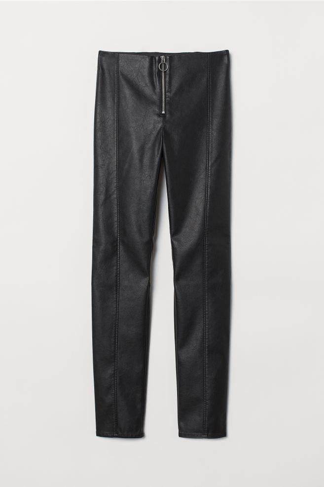e867882ebde3c Faux Leather Leggings - Black/zip -   H&M ...