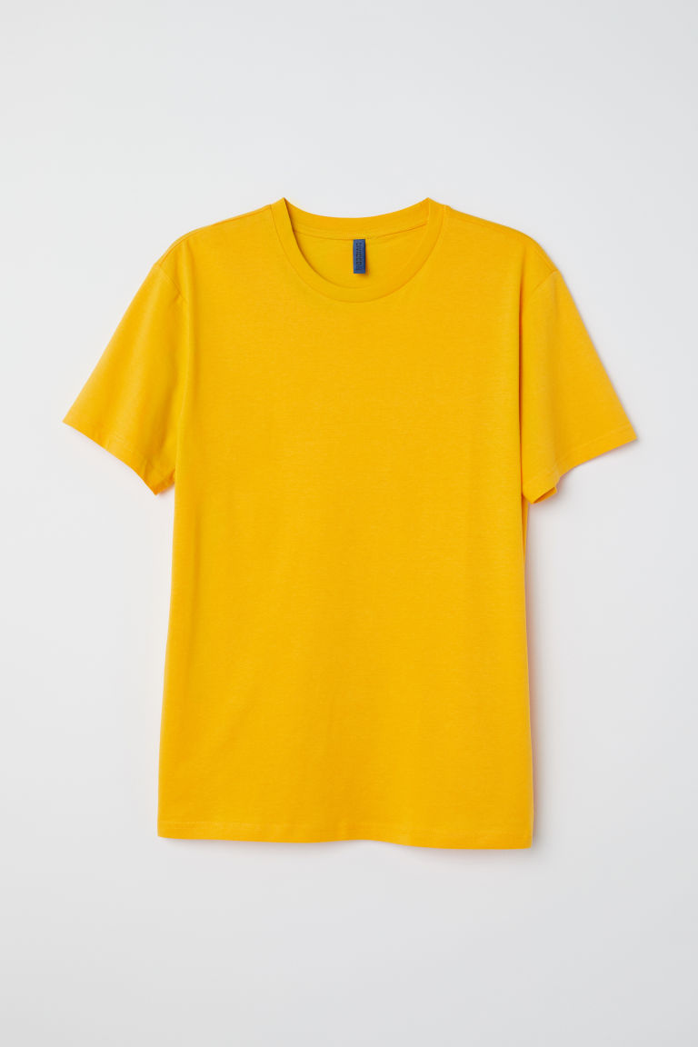 Round-necked T-shirt - Dark yellow - Men | H&M