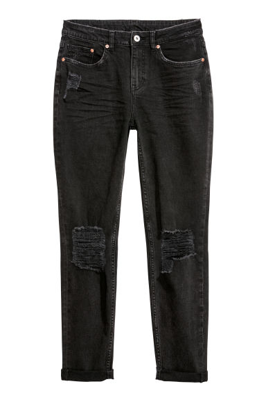 Boyfriend Slim Low Jeans - 黑色丹寧 -  | H&M