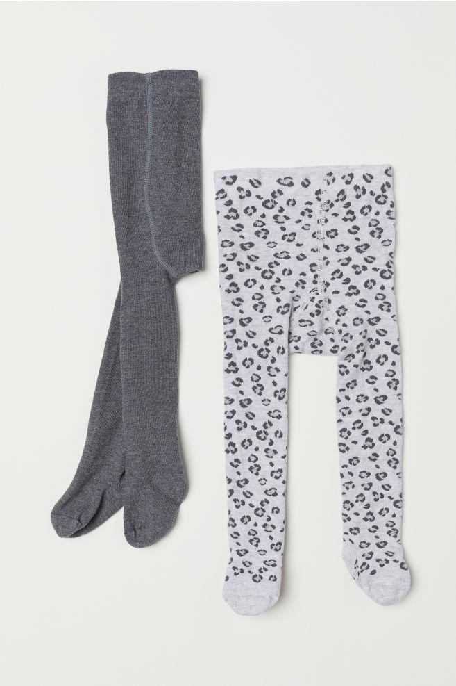 038663a6d82264 2-pack tights - Grey marl/Leopard print - Kids | H&M ...