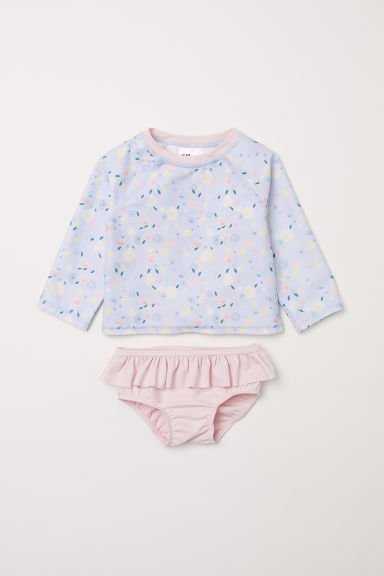 Swim set with UPF 50 - Light blue/Floral - Kids | H&M