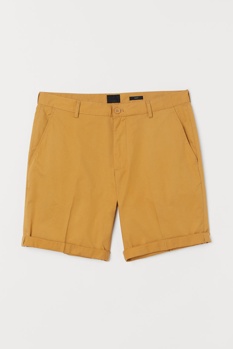 Shorts de algodón Slim Fit - Amarillo oscuro - Men | H&M MX