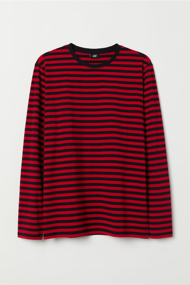 ... Long-sleeved Cotton Shirt - Red black striped - Men  25f525e71bb