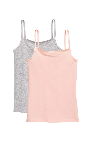 2-pack jersey strappy tops - Light grey marl - Kids | H&M