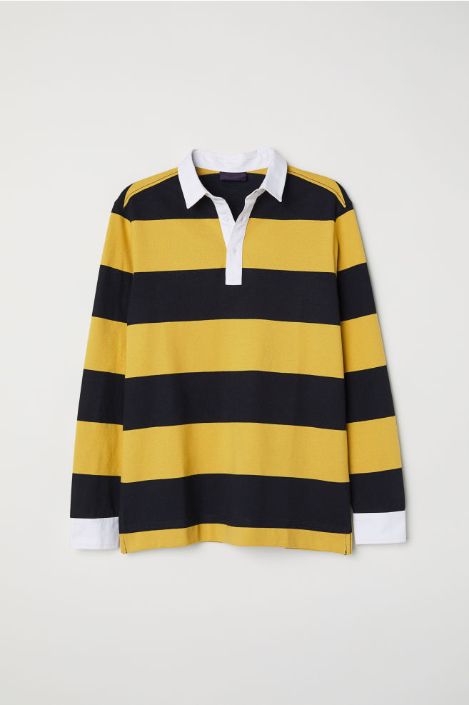 abe5da763c4f5 Rugby shirt - Mustard yellow Black striped - Men