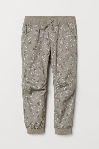 Lined joggers - Light grey/Floral - Kids | H&M