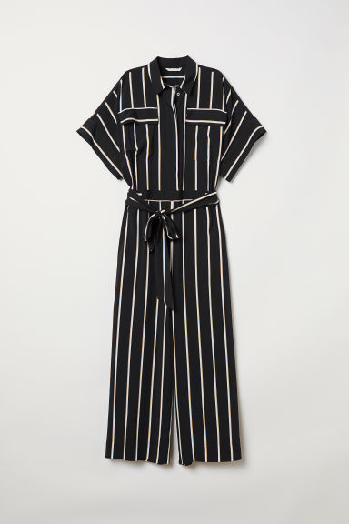 Striped jumpsuit - Black/Striped - Ladies | H&M