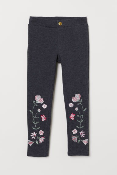 Treggings - Grey marl/Flowers - Kids | H&M CN